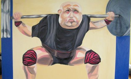 Powerlifter, oil on canvas. Mel Edwards.
