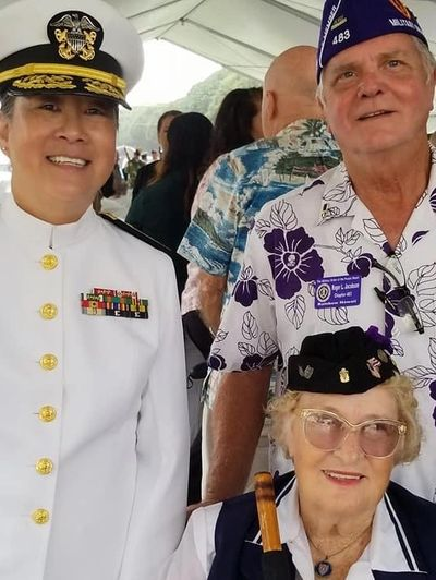 RADM (Ret.) Alma Grocki with Veterans Roger and Pearl Jacobson. Click on photo for more information.