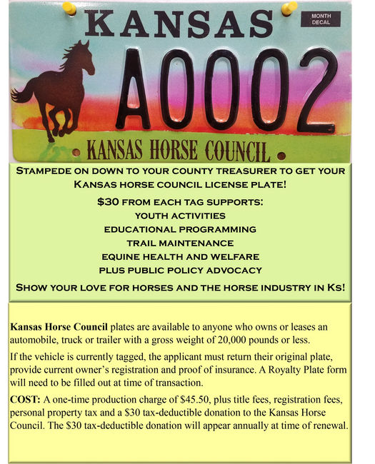 Kansas Horse Council License Plates | Show your support for KHC