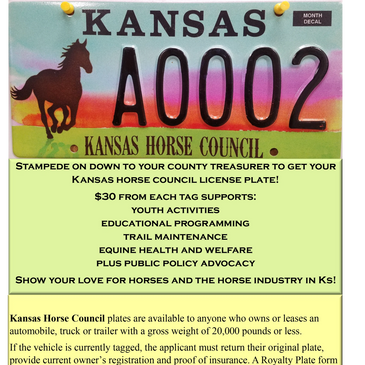 Kansas Horse Council License Plates | Support your KHC | Horses |
