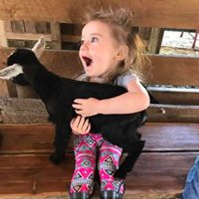 Sweet little girl holding a baby goat