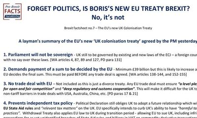 "Why Boris's ""Get Brexit Done"" deal is not Brexit."