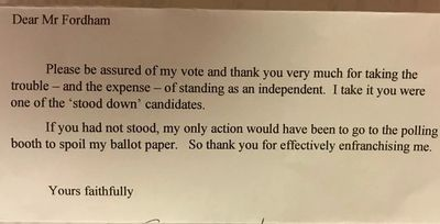 Kind letter from a constituent
