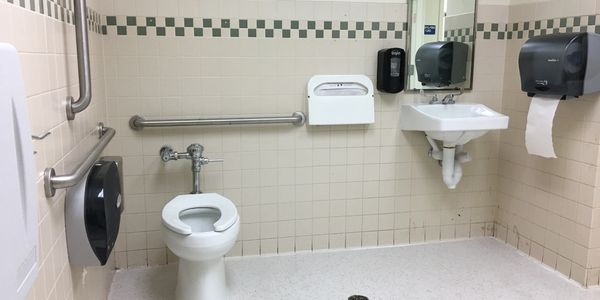 Restroom bathroom receptacles and disposals, VCT tile replacement, paper towel dispenser, grab bars