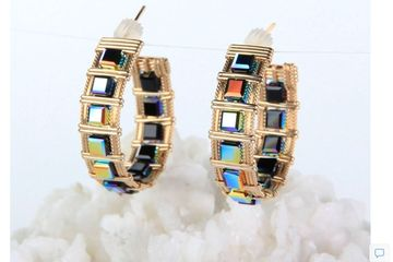 Gorgeous iridescent black Swarovski cubes delight the eye in these beautiful earrings.  Customizable
