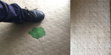 Before and after photo of green slime on carpet