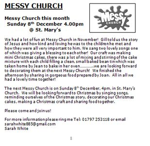 Messy Church is on 8th December 2019 at 4pm, St Mary's Northiam
