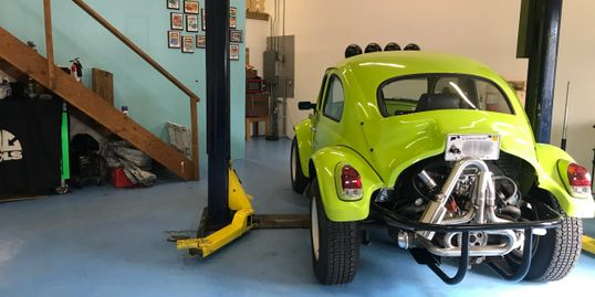Dunebuggy Bug Beetle hot exhaust lime green