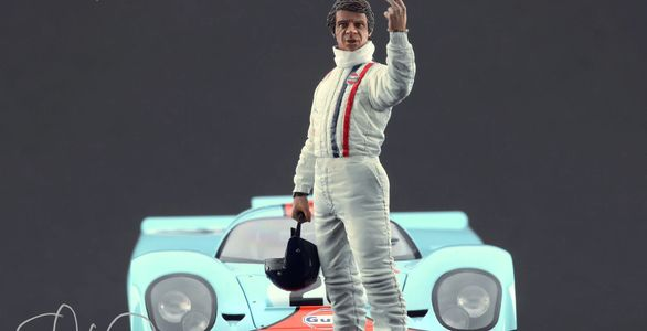 "1/18 Scale Steve McQueen figurine from ""The Man & Le Mans"" Movie."