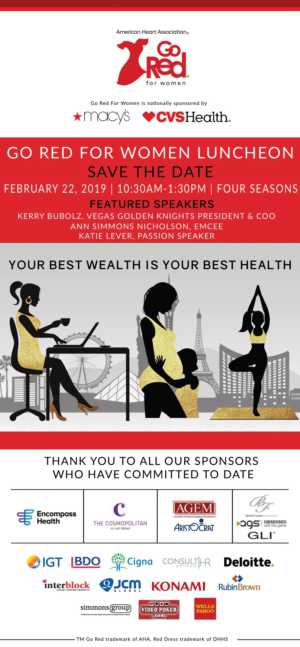 8e87c6c49d5 We are honored to be a sponsor for Go Red for Women Luncheon Event this  February!