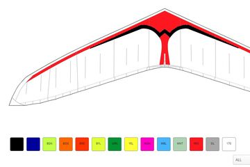 Wills Wing's color picker tool, showing a T3  hang glider with University of Utah colors.