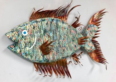 A happy, one of a kind fish sculpture!