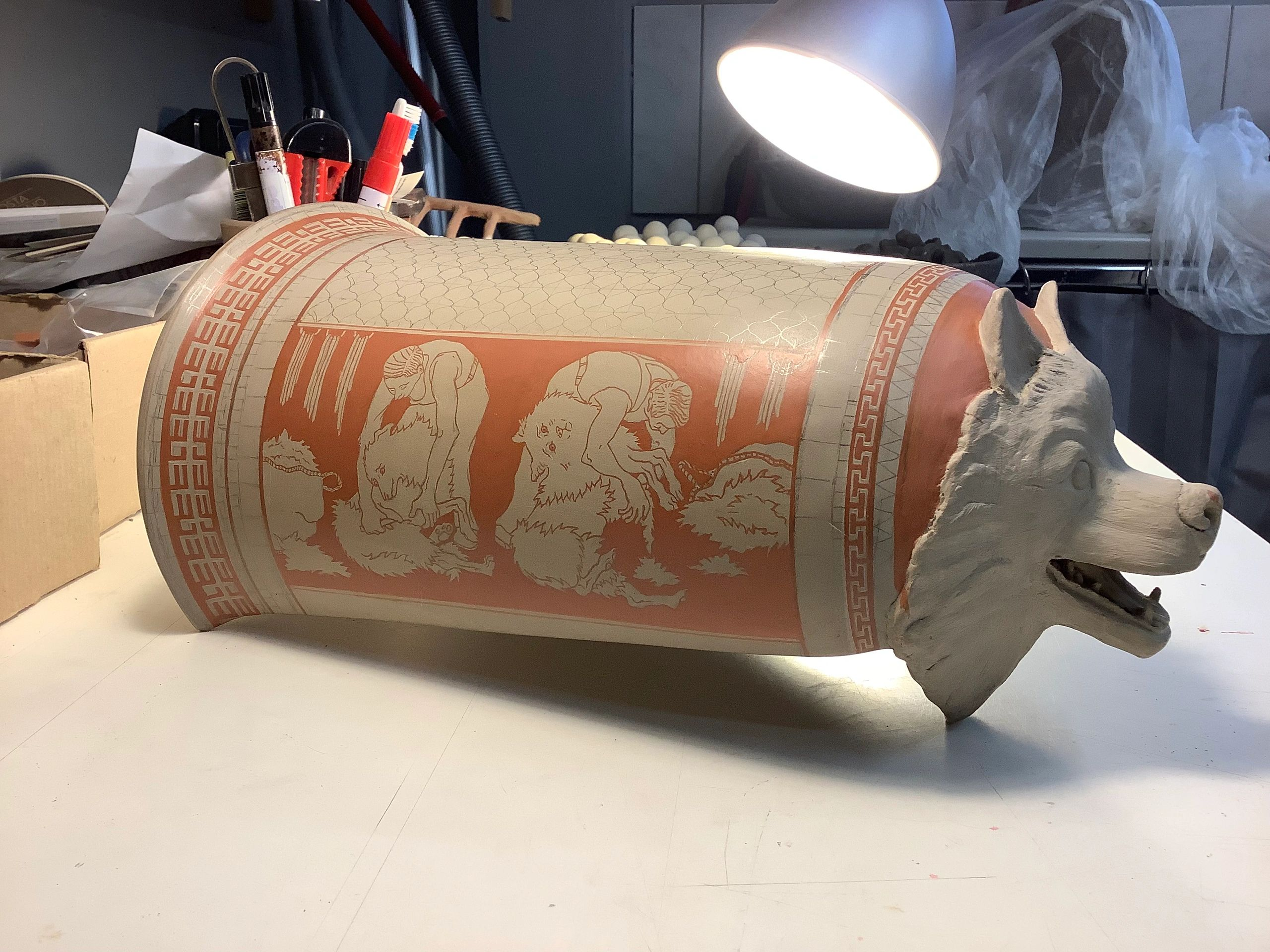 Salish-dog Epinetron made at Thetis Authentics (Athens). Images designed and painted by artist.