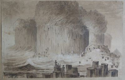 Staffa Ink wash drawing by James Skene, c. 1809. Reproduced with permission of the GSL Archives