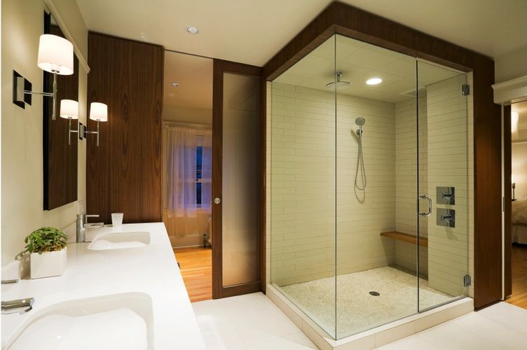 frameless shower door in modern bathroom