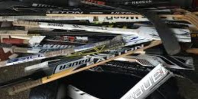 broken hockey sticks used in our creations
