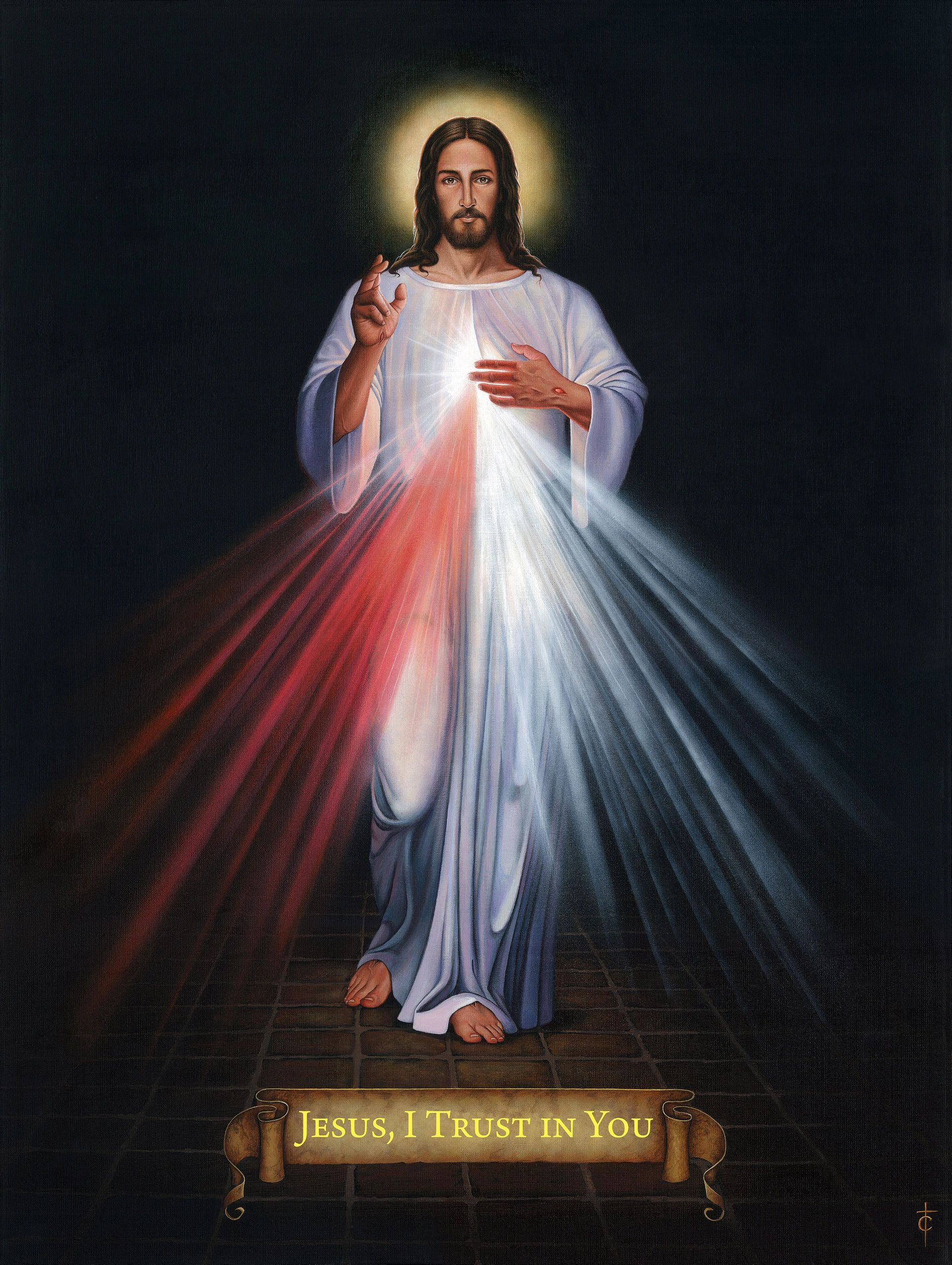 Divine Mercy painting by Tommy Canning. Jesus I trust in you.