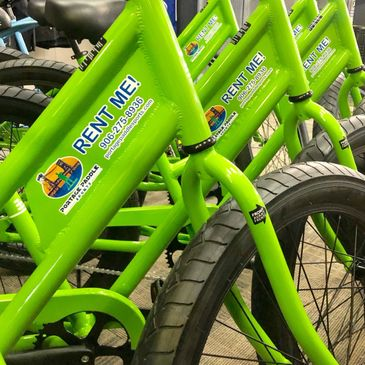 Cruiser Bike rentals along the water front in Houghton, Michigan