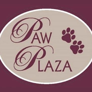 Paw Plaza burgundy banner and logo