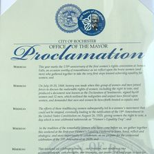 Proclamation by Mayor Lovely A. Warren that Aug 24-26 is known as Women's Equality Weekend