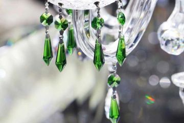 green replacement chandelier crystals to hang from chandeliers