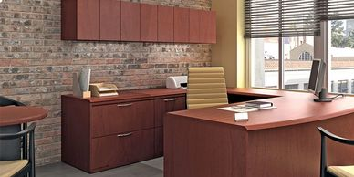 Private office desks and storage.