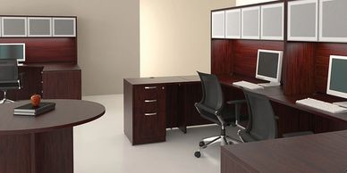 Wood and Laminate office furniture desks and casegoods
