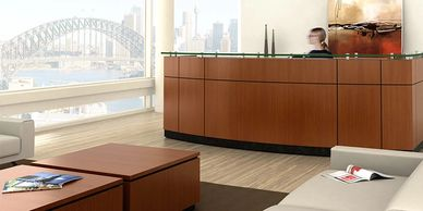 Wood and laminate reception office furniture