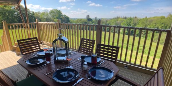 Views of Devon and North Devon. Luxury Glamping Devon views from Safari Tent