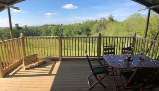 Large private decking, large table and chairs, al fresco dining, beautiful Devon countryside views.