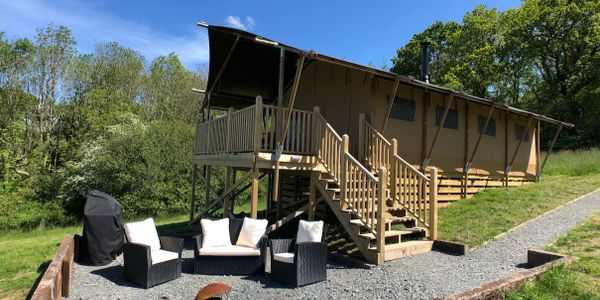 Massive tent, luxury living, large raised decking, patio to enjoy Devon views and starlit nights