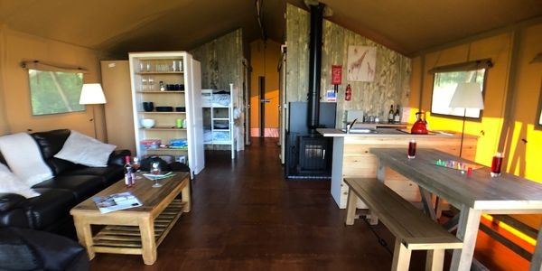 Massive safari tent, provides luxurious glamping with plenty of space to relax, play and reconnect