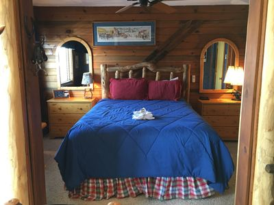 Log Cabin bedroom with aspen log furniture