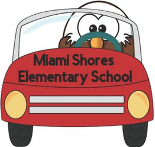 Eagle driving red car that has Miami Shores Elementary School written on the hood