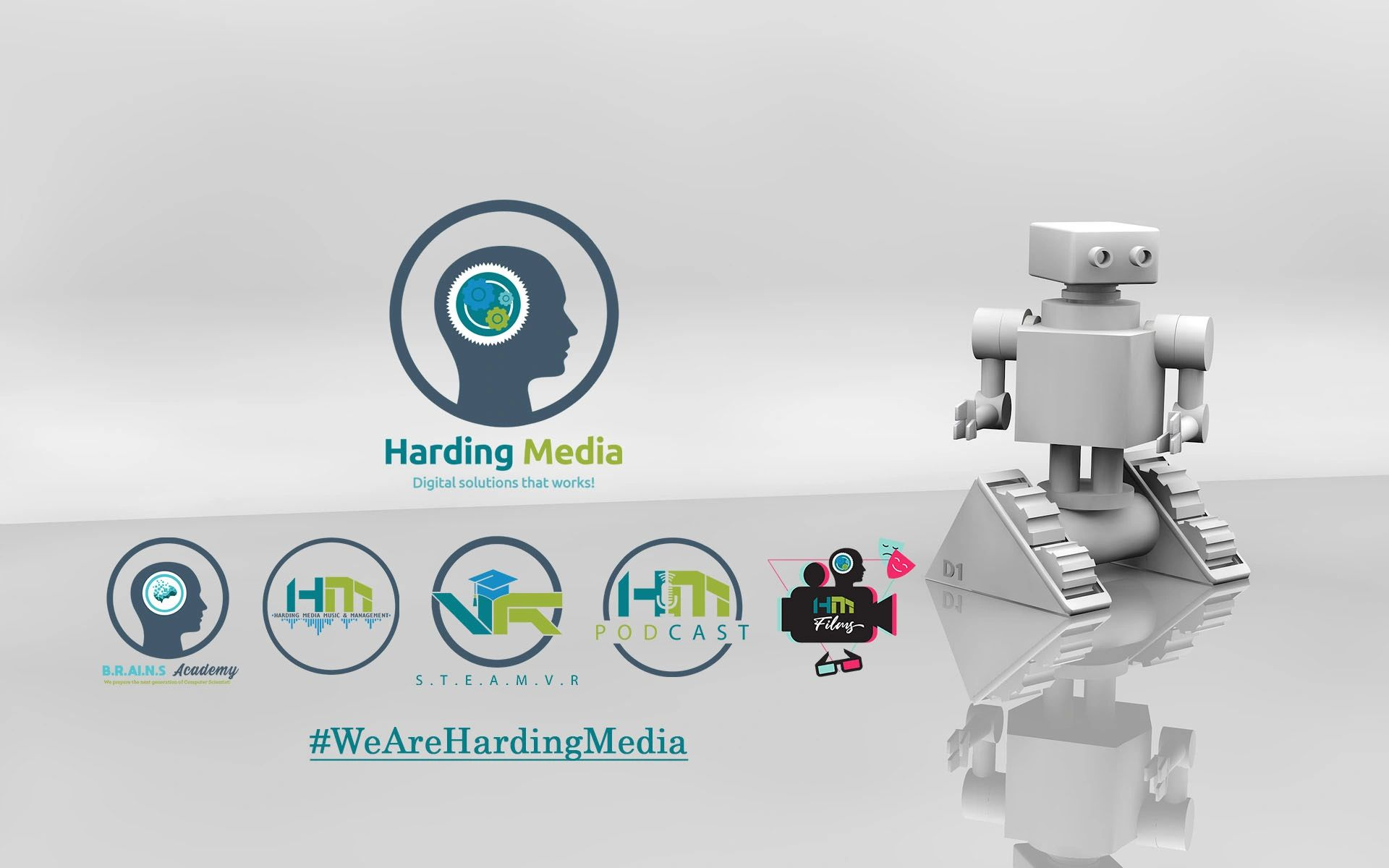 All Harding Media logos with a D2 silver Robot