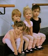 Children in ballet leotards dance studio Austin Texas