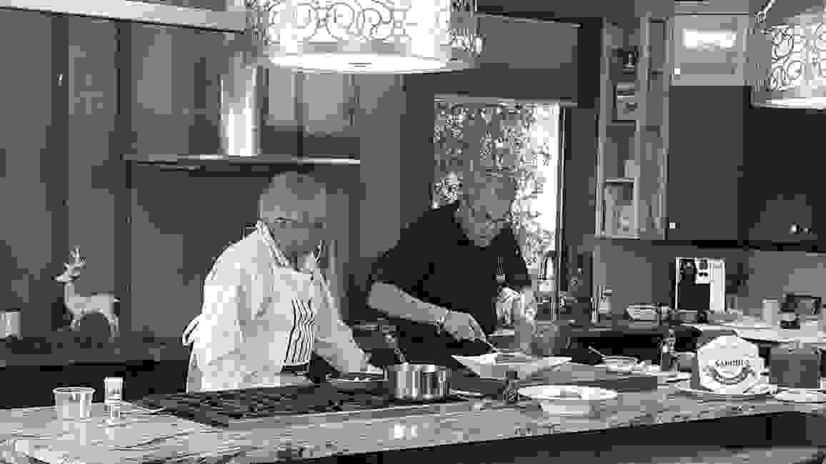 Chef Walter Potenza (right) and Steve Cascione on the TV set of Flavors + Knowledge Cooking Show