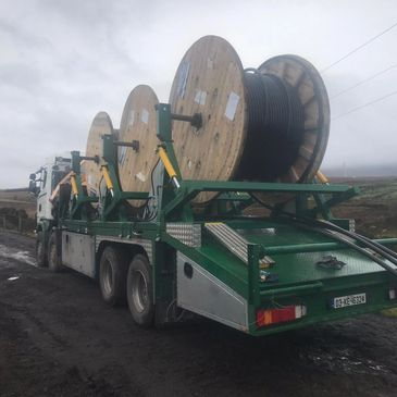 cable installation, drum carrier, triple drum carrier, MRPH, ireland, scania