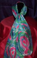 Pink Ribbon hand-painted silk scarf
