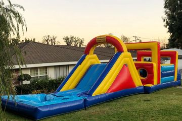 Inflatable slide  obstacle course Waterslide  obstacle course for rent  party rentals in Garden Grov