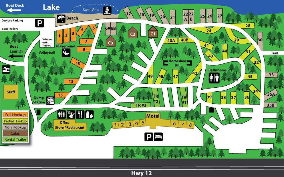 Site map of campground at Silver Beach.