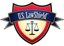 Logo for US LawShield, Scales of Justice on a Red and Gold Shield, blue banner across