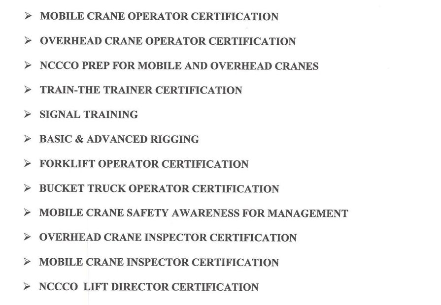 lift director, mobile crane, overhead crane, NCCCO, rigging, signalman, crane training,
