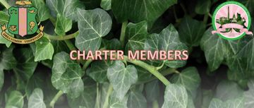 Charter members text with ivy backdrop