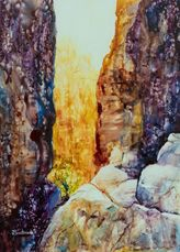 Spirits of the Chasm, Watercolour on Yupo, 35 x 49 cm, by Joy Brentwood