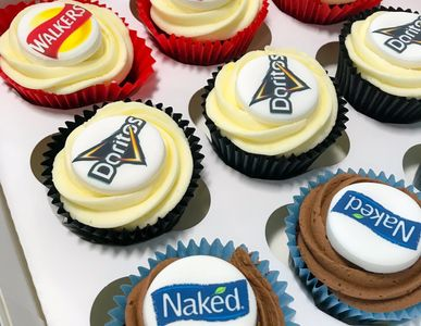 Corporate client logo cupcakes