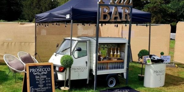 Our prosecco van set up for business