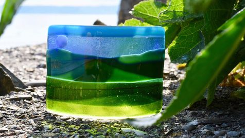 Fused glass countryside scenery
