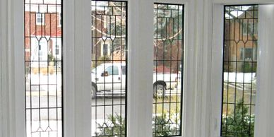White Elm leaded glass windows, decorative windows, decorative glass door inserts