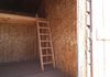 Sheeting inside of shed with a loft
